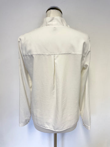 BENETTON WHITE V NECKLINE CROSS OVER FRONT LONG SLEEVE BLOUSE SIZE M