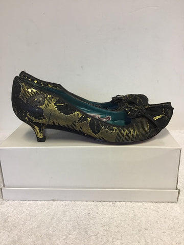 BRAND NEW IRREGULAR CHOICE BLACK SUEDE & GOLD METALLIC PRINT HEELE SIZE 7/40