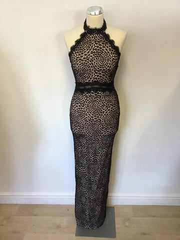 LIPSY BY MICHELLE KEEGAN BLACK & NUDE LINED HALTERNECK LONG EVENING DRESS SIZE 6