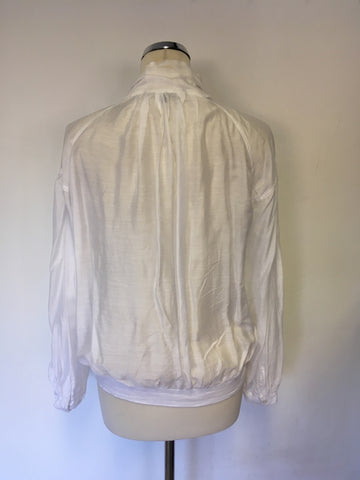 FRENCH CONNECTION WHITE PUSSY BOW TIE BLOUSE SIZE 12