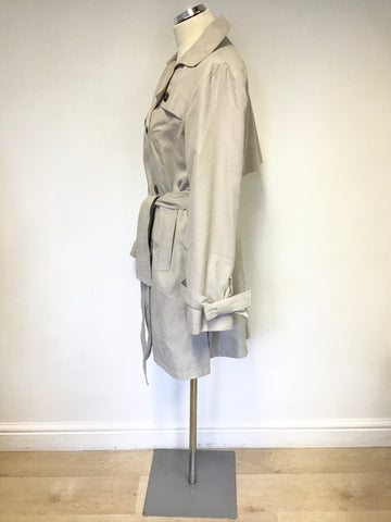 FRENCH CONNECTION BEIGE BELTED TRENCH COAT/ MAC SIZE 8