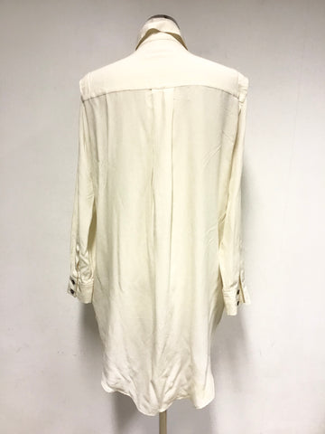 ALL SAINTS MADISON IVORY SILK SHIRT DRESS SIZE 6 BUT WILL FIT LARGER