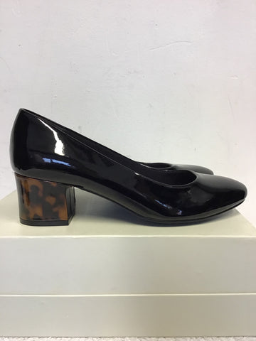 BRAND NEW MARKS & SPENCER BLACK PATENT & BROWN TORTOISE SHELL HEELS SIZE 5/38 WIDE FIT