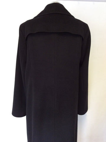 HUGO BOSS CLASSIC  BLACK WOOL,ANGORA & CASHGORA LONG COAT SIZE 12