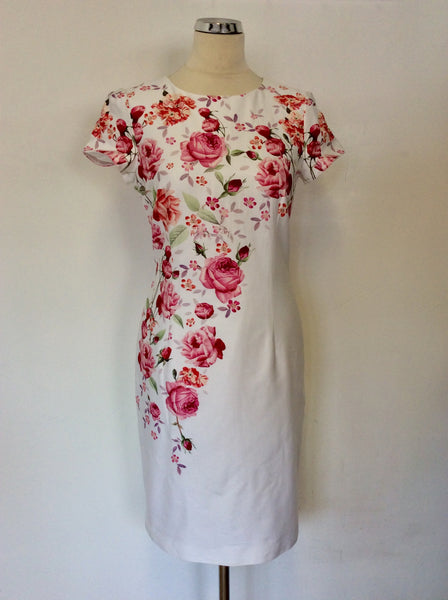 HOBBS INVITATION WHITE & PINK FLORAL PENCIL DRESS SIZE 10