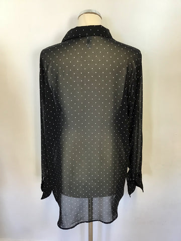 AMERICAN APPAREL BLACK & WHITE SPOTTED CHIFFON BLOUSE ONE SIZE