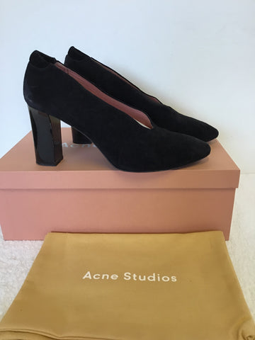 ACNE STUDIOS BLACK SUEDE HIGH SIDE HEELS SIZE 6/39