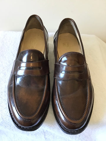 SAMUEL SMITH CHESTNUT BROWN HAND MADE LEATHER SLIP ON SHOES SIZE 8/42