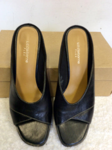 LIZ CLAIBORNE BLACK LEATHER PEEPTOE HEELED MULES SIZE 2/ 34.5