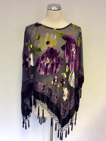 JAYLEY SILK DEVORE PURPLE & GREEN FLORAL BEADED PONCHO ONE SIZE