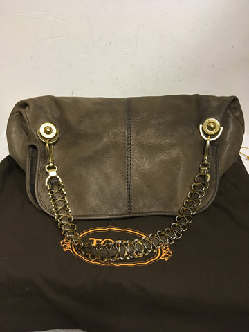 TODS BROWN LEATHER & GOLD CHAIN STRAP SHOULDER BAG