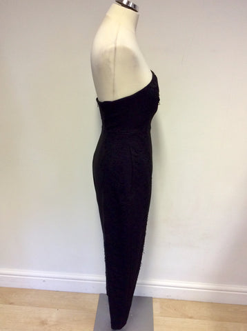 WHISTLES BLACK LOVEBIRD LACE PANEL STRAPLESS JUMPSUIT SIZE 8