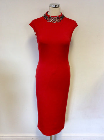 BRAND NEW TED BAKER RED HIGH NECK EMBELLISHED DRESS SIZE 2 UK 10