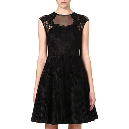 TED BAKER LANGLEY QUETIAA BLACK LACE TRIM COCKTAIL DRESS SIZE 4 UK 14