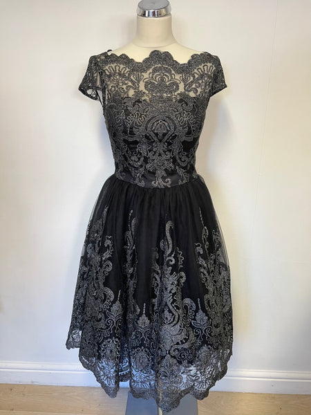 BRAND NEW CHI CHI LONDON BLACK & SILVER LACE OVERLAY FIT & FLARE SPECIAL OCCASION DRESS SIZE 8