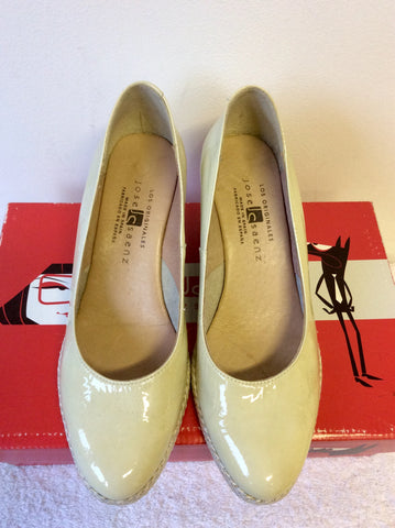 JOSE SAENZ BEIGE PATENT LEATHER WEDGE HEELS SIZE 4/37
