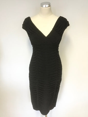 ADRIANNA PAPELL BLACK PLEATED DETAIL STRETCH PENCIL DRESS SIZE 4 UK 8/10