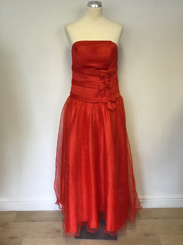 BRAND NEW UNBRANDED RED STRAPLESS EMBROIDERED & BOW TRIM FULL SKIRT BALLGOWN SIZE 14