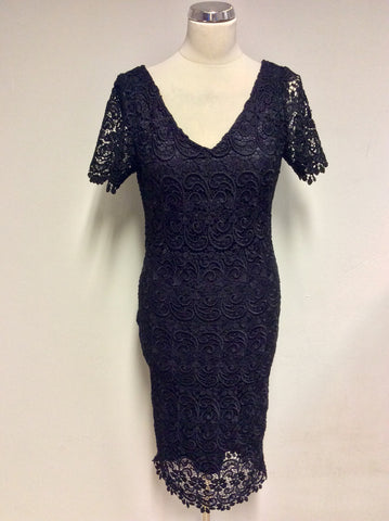MARKS & SPENCER AUTOGRAPH BLACK LACE PENCIL DRESS SIZE 8