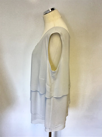 CHESCA PALE GREY TIERED LAYER SLEEVELESS TOP SIZE XL