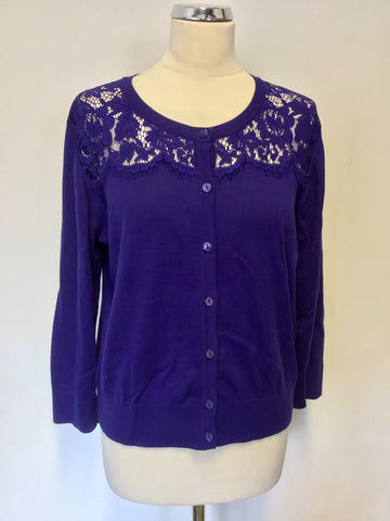 HOBBS ROYAL BLUE LACE TRIM CARDIGAN SIZE L