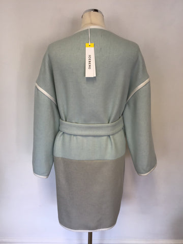 BRAND NEW ICEBERG DUCK EGG & GREY OVERSIZE WOOL BLEND TIE BELT COAT SIZE 40/ UK 12