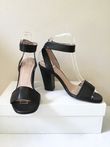 JIGSAW MIA BLACK LEATHER ANKLE STRAP BLOCK HEEL SANDALS SIZE 4/37