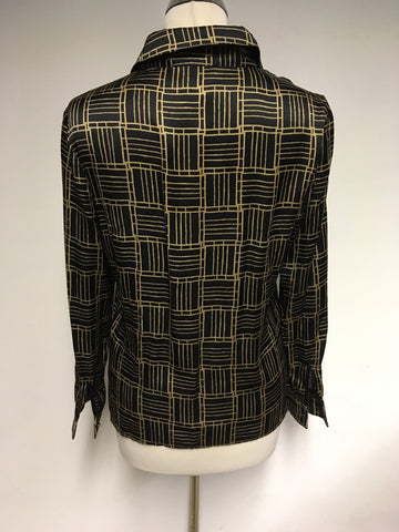 REISS BLACK & GOLD PRINT SILK SHIRT SIZE 8