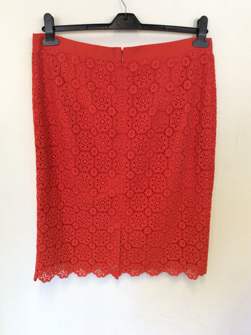 BRAND NEW BODEN CORAL ORANGE COTTON LACE KNEE LENGTH PENCIL SKIRT SIZE 16