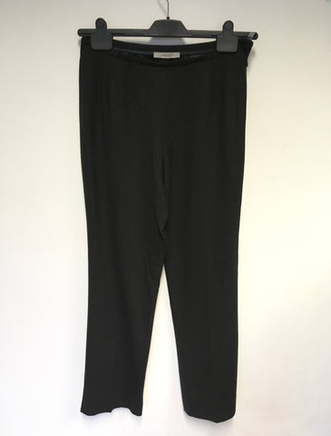 JAEGER BLACK WOOL STRAIGHT LEG TROUSERS SIZE 10