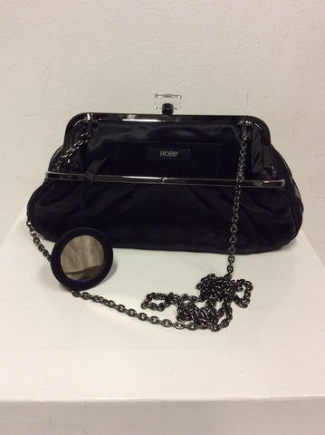 HOBBS BLACK SHOULDER/CLUTCH EVENING BAG