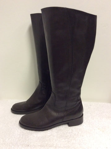 NIC DEAN DARK BROWN LEATHER KNEE LENGTH BOOTS WIDER FIT SIZE 7.5/41