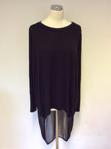 A POSTCARD FROM BRIGHTON BLACK JERSEY SEMI SHEER BACK LONG SLEEVE TOP SIZE 2 UK L/XL
