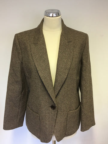 BRAND NEW JAEGER BROWN & BURGUNDY WEAVE WOOL BLEND JACKET SIZE 16