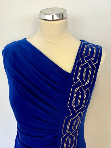 BRAND NEW JOSEPH RIBKOFF BLUE WITH GOLD SPARKLE TRIM SPECIAL OCCASION/ COCKTAIL DRESS SIZE 10