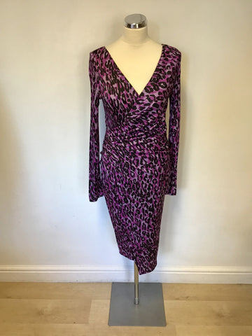LK BENNETT PINK & BLACK ANIMAL PRINT LONG SLEEVE WRAP DRESS SIZE 8