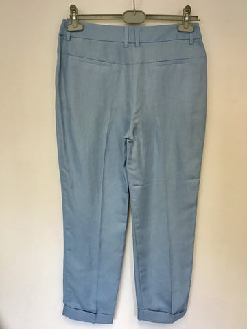 BRAND NEW MARKS & SPENCER AUTOGRAPH LIGHT BLUE LINEN BLEND TROUSERS SIZE 10