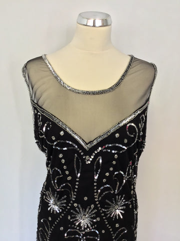 SIMPLY BE BLACK & SILVER BEADED & SEQUINNED NET OVELAY LONG EVENING DRESS SIZE 24