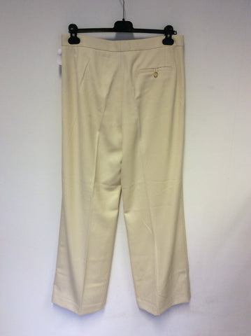BRAND NEW RALPH LAUREN CREAM WOOL SILK LINED FORMAL TROUSERS SIZE UK 14
