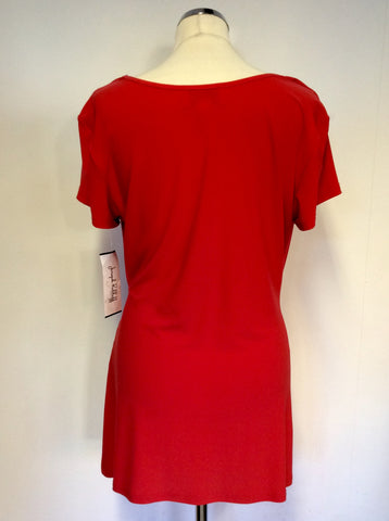 BRAND NEW JOSEPH RIBKOFF RED BUCKLE TRIM SCOOP NECK TOP SIZE 18