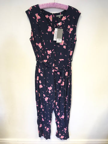 BRAND NEW FENN WRIGHT MANSON NAVY BLUE & PINK FLORAL PRINT JUMPSUIT SIZE 16