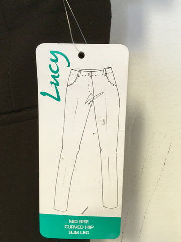 BRAND NEW EMRECO LUCY BROWN MID RISE,CURVED HIP,SLIM LEG TROUSERS SIZE 18