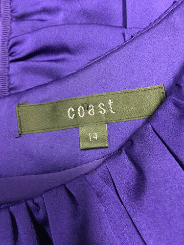 COAST PURPLE PLEATED SPECIAL OCCASION DRESS SIZE 14