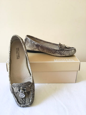 MICHAEL KORS HAMILTON PYTHON EMBOSSED PRINT SLIP ON LOAFERS SIZE 3.5/36