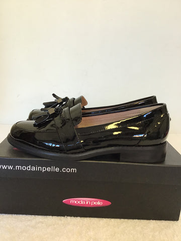 BRAND NEW MODA IN PELLE BLACK PATENT LEATHER LOAFERS WITH TASSELS SIZE 3.5/36