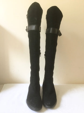 LAVORIZIONE ARTIGIANI BLACK SUEDE, LEATHER & FAUX LEATHER STRETCH KNEE HIGH BOOTS SIZE 6/39