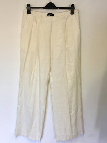 NITYA WHITE LINEN SILK TRIM EDGE TRIM TROUSERS SIZE 44 UK 16