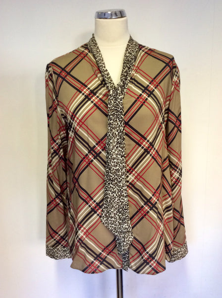 BRAND NEW BARBARA LEBEK BROWN CHECK & LEOPARD PRINT TIE NECK BLOUSE SIZE 18