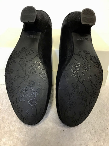 BRAND NEW HOTTER BLACK LEATHER SHIMMER COURT SHOES SIZE 4.5/37.5