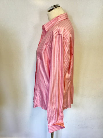 BRAND T.M LEWIN PINK STRIPE COTTON LONG SLEEVE DOUBLE CUFF SHIRT SIZE 18